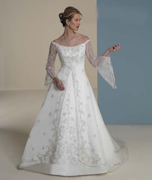 Celtic Wedding Dresses White Pale Blue Medieval Bridal: DressedUpGirl.com