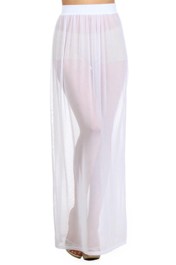 White Sheer Skirt - Skirts