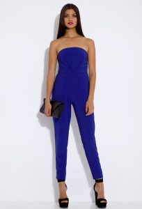 Strapless Blue Jumpsuit