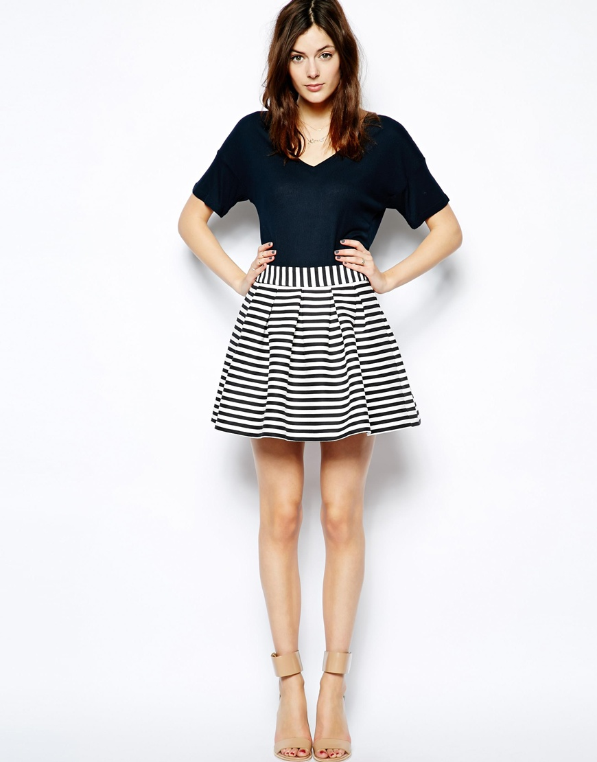 Black And White Striped Skirts - Skirts