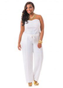 White Strapless Jumpsuit