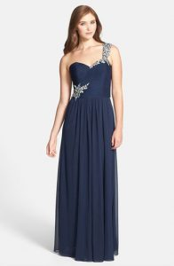 Xscape One Shoulder Gown