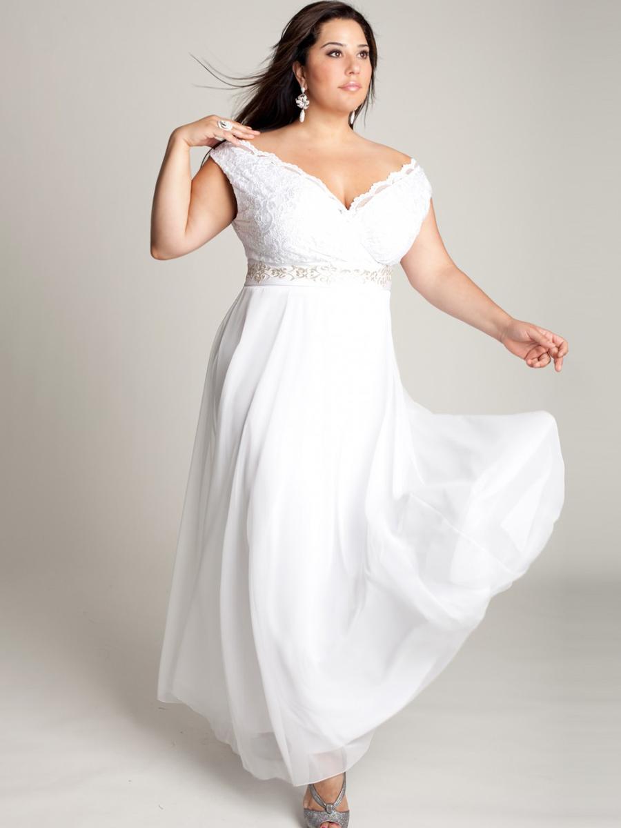 White Plus Size Evening Dresses