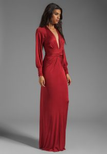 Red Long Sleeve Gown