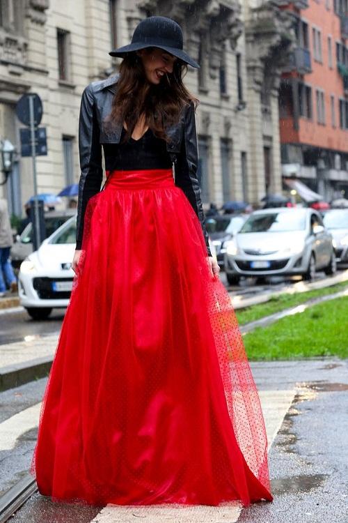 Long Red Skirt - Skirts
