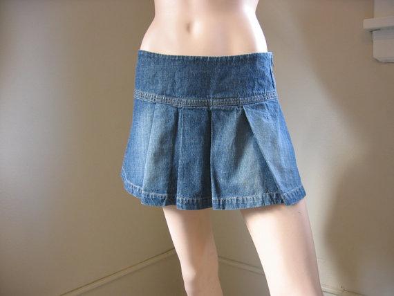 Pleated Jean Skirt - Dress Ala