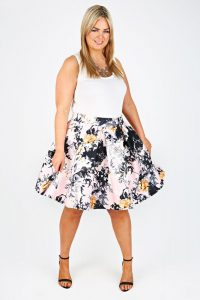 Plus Size Floral Skirt