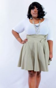 Plus Size Khaki Skirt