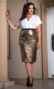 Plus Size Sequin Skirt
