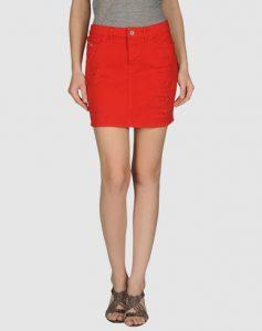 Red Denim Skirt