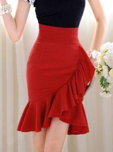 Red High Waisted Skirt