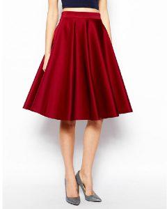 Red Knee Length Skirt