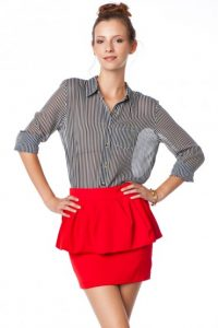 Red Peplum Skirt