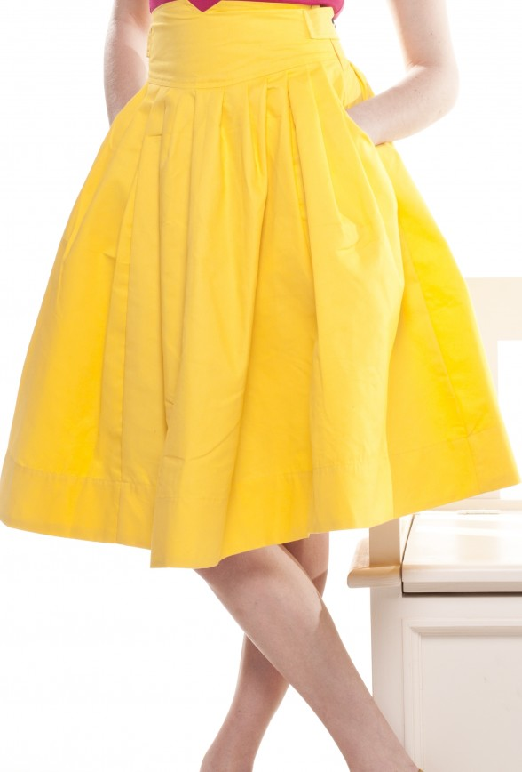 yellow skirt dressed up