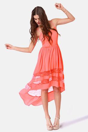 Coral Sundress Dressed Up Girl