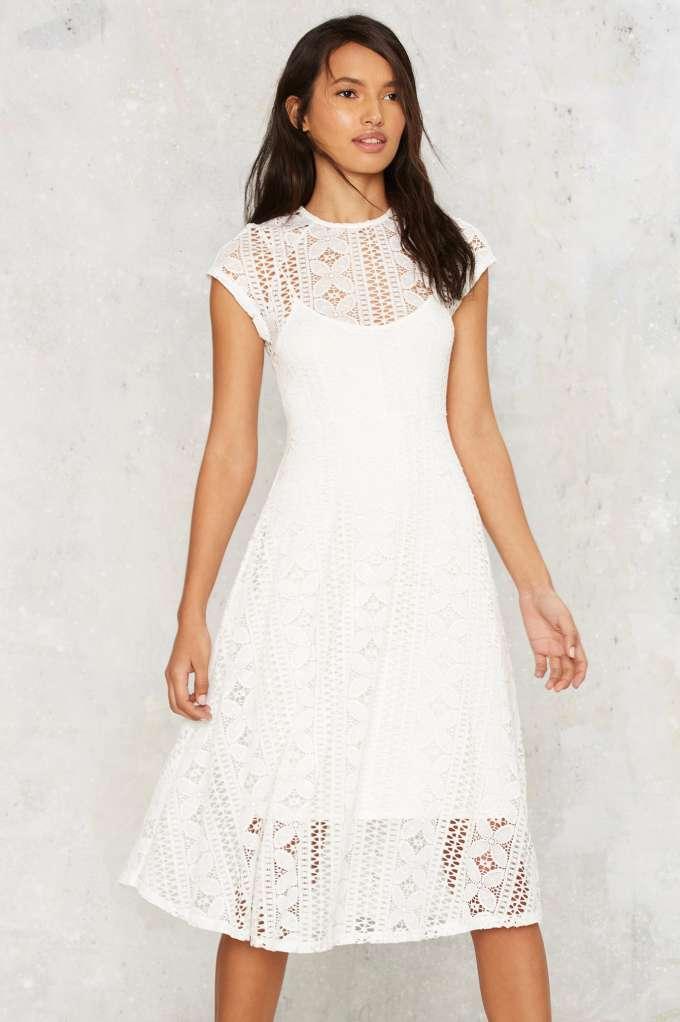 White Lace Sundress Dressed Up Girl