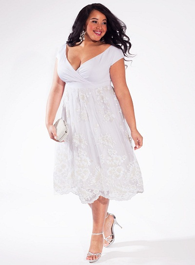 Plus size white sundress dressed up girl for Plus size dress to wear to a wedding