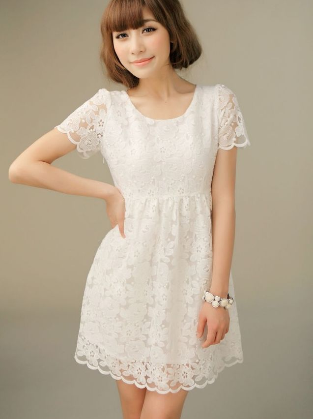 Little White Lace Dress With Sleeves - Dress