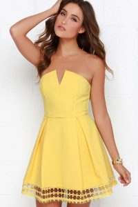 Yellow Strapless Sundress