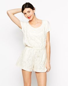 White Short Sleeve Romper